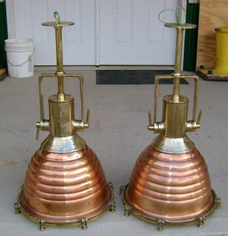 Two Large Wiska Ship Salvaged Beehive Pendant Lights