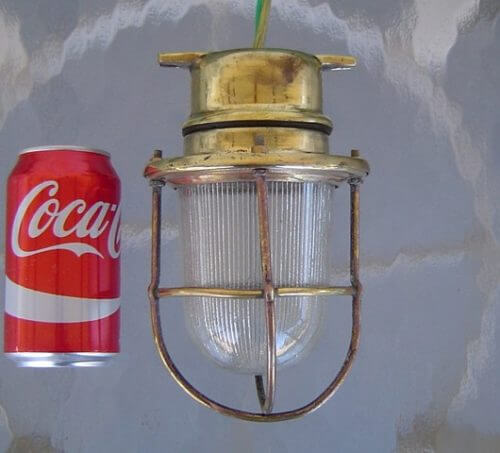 vintage ribbed glass nautical cage light