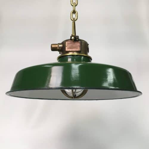 Brass Wiska Nautical Pendant Light With Enamel Porcelain Shade