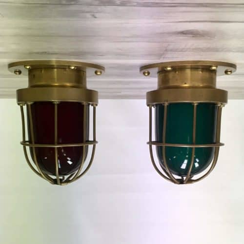 Pair Red and Green Glass Brass Nautical Caged Ceiling Light