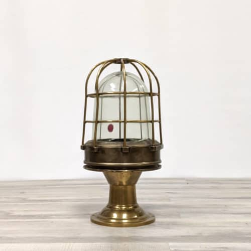 Nautical Brass Post Light with Brass Cage - Slight Inside Glass Crack