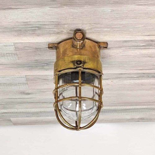Brass Double Barred Cage Ceiling Light