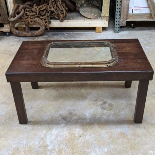 Rustic Brass Porthole Coffee Table