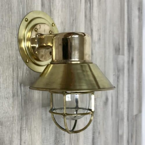 Vintage Red Brass Wall Sconce With Brass Rain Cap