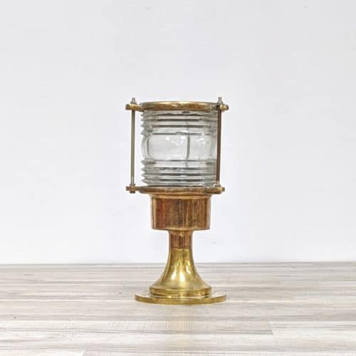 Chipped Nautical Brass Fresnel Lens Light