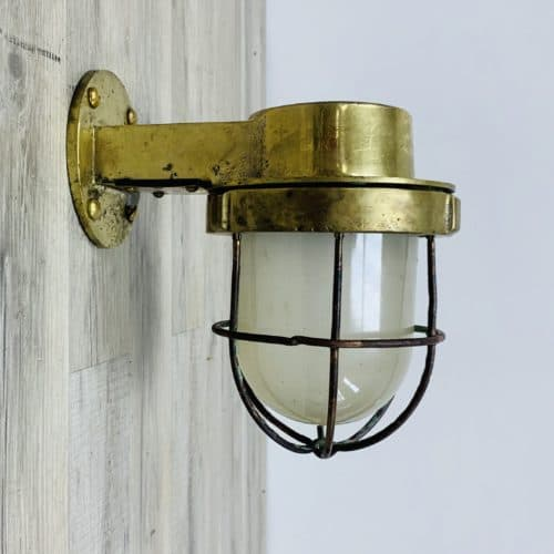 Vintage Brass Ship Wall Light With Frosted Globe
