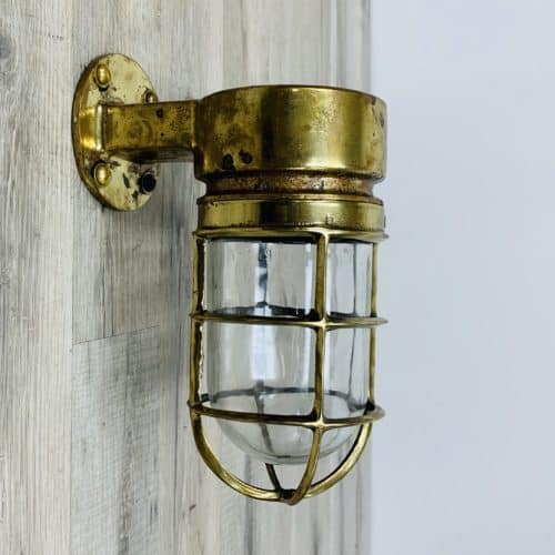 Vintage Salvaged Brass Ship Light - Samsin