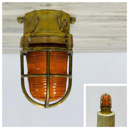 Brass Pauluhn Amber Ceiling Light