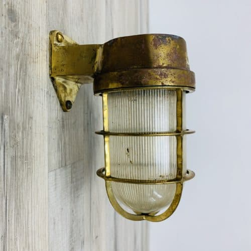 Weathered Cast Brass Wall Mounted Nautical Light 1