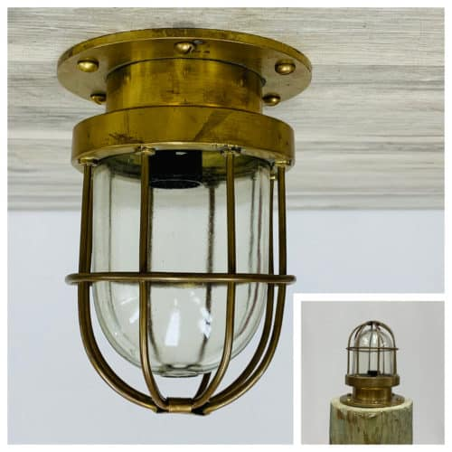 Clear Glass Brass Nautical Caged Ceiling Light