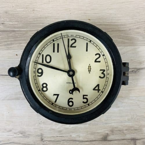 Black Phenolic 1970's Chelsea Clock Co. Boston