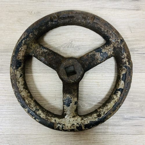 Vintage Black And Silver Cast Iron Valve Wheel - 7 Inches