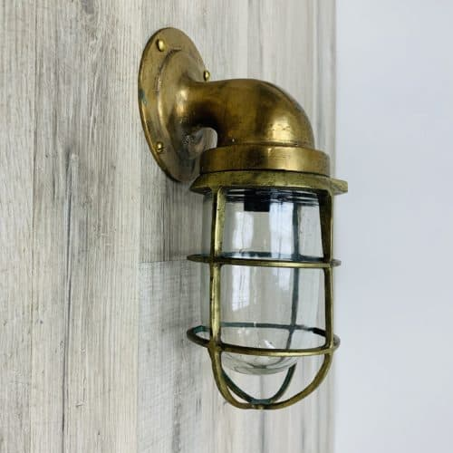 Vintage Brass Wall Light With Cracked And Bent Cage