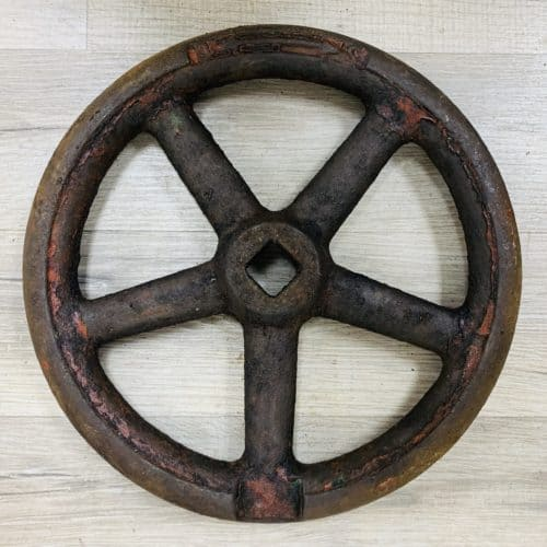 Antique Ship's Red Watertight Door Wheel - 9.75 Inches