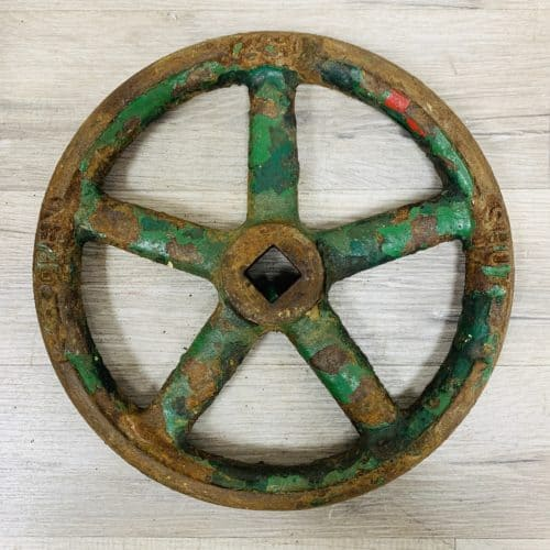 Old Iron Ship's Wheel Valve Painted Green - 9.875 Inches
