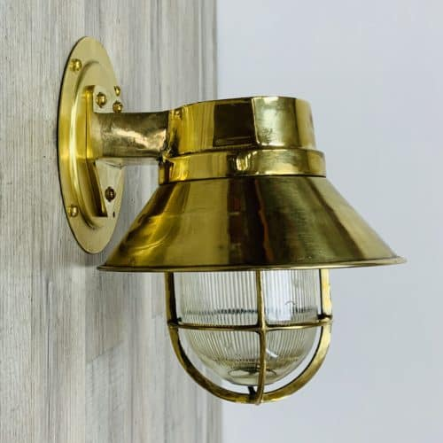 Ribbed Globe Brass Nautical Passageway Light With Rain Cap
