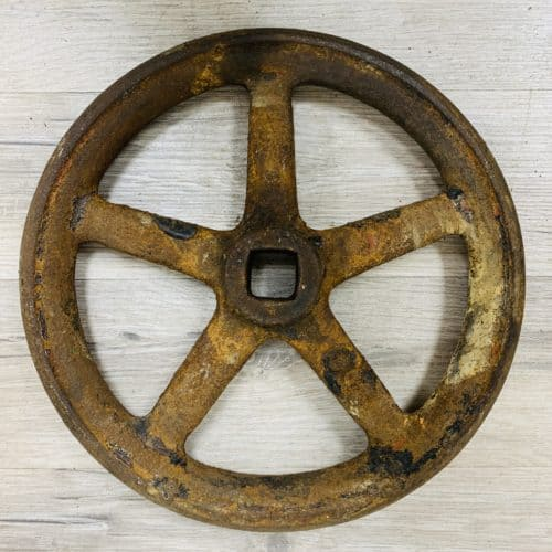 Rustic Iron Nautical Pressure Valve Wheel - 9.625 Inches
