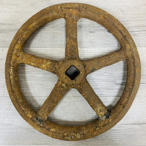 Rustic Iron Ship Pressure Valve Wheel - 9.875 inches