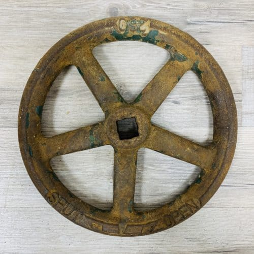 Vintage Green Iron Valve Wheel - 9.75 Inches
