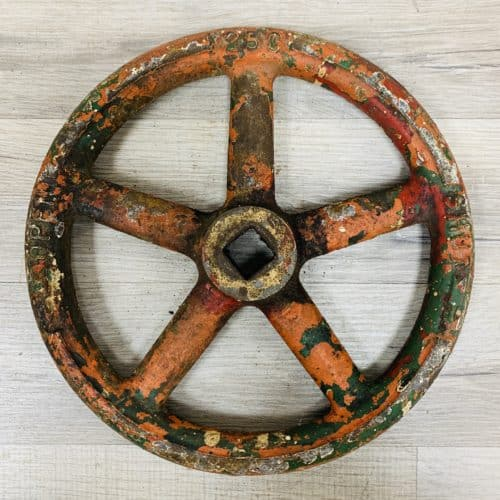 Vintage Orange Cast Iron Valve Wheel - 9.875 Inches
