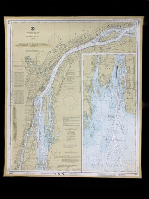 Vintage United States - Detroit River - Great Lakes - Lake Erie - Lake Michigan NOAA Nautical Chart -14848