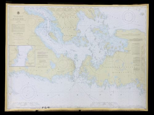 Vintage United States - Great Lakes - Lake HuronMichigan - St. Marys River - NOAA Nautical Chart -14882
