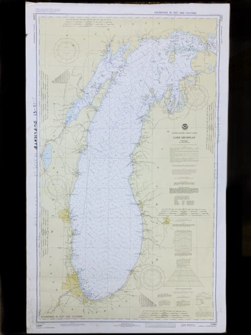 Vintage United States - Great Lakes - Lake Michigan - NOAA Nautical Chart -14900