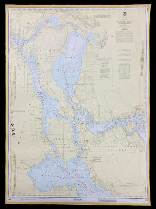 Vintage United States - Great Lakes - Michigan - St. Marys River Munuscong Lake to Sault Ste. Marie- NOAA Nautical Chart -14883