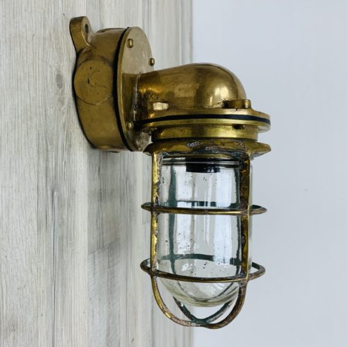 Vintage Weathered Brass Wall Sconce 1