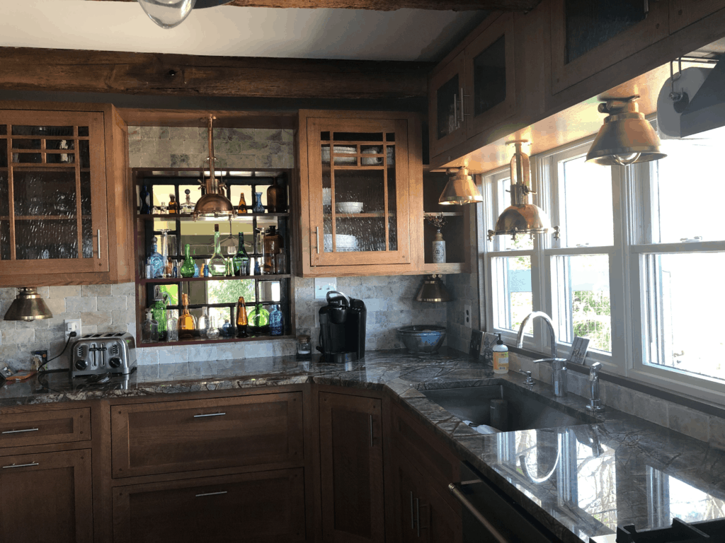 Brass Ceiling Lights under Cabinets