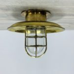 Covered Brass Engine Room Ceiling Light With Clear Globe