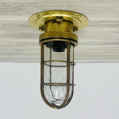 Vintage Brass Ceiling Light - Long Cage - With Mounting Plate