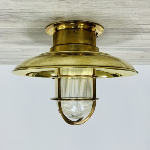 Vintage Covered Nautical Brass Ceiling Light With Ribbed Globe