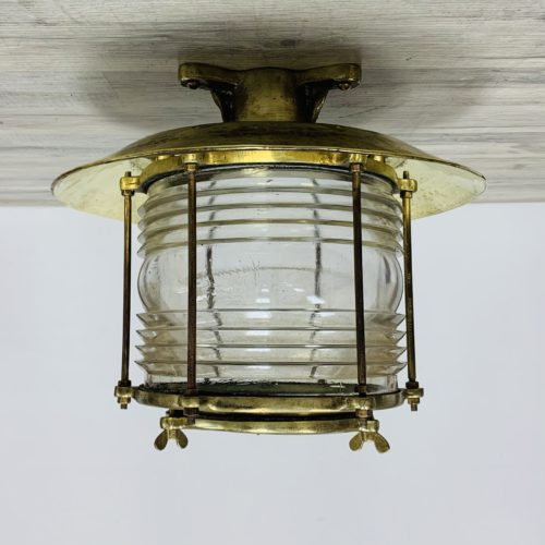 Vintage Fresnel Lens Nautical Ceiling Light With Brass Rain Cap