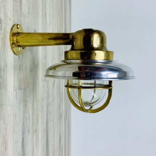 Aluminum Covered Vintage Brass Wall Light With Arm