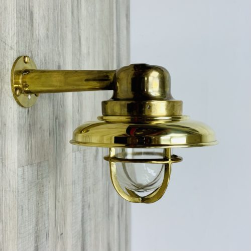 Brass Covered Vintage Brass Wall Light With Arm