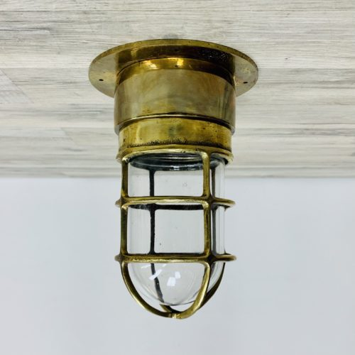 Brass Engine Room Ceiling Light With Clear Globe