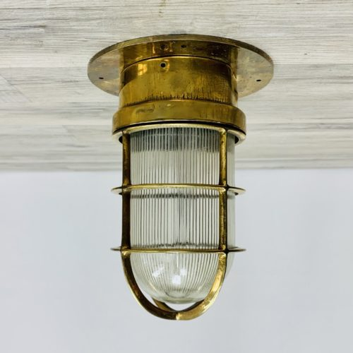 Brass Engine Room Ceiling Light With Ribbed Globe