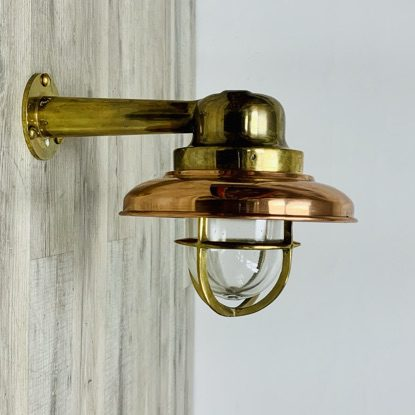 Vintage Brass Wall Light With Arm And Copper Cover