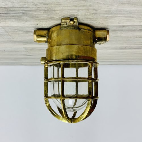 Vintage German Yellow Brass Ceiling Light - Side Conduits