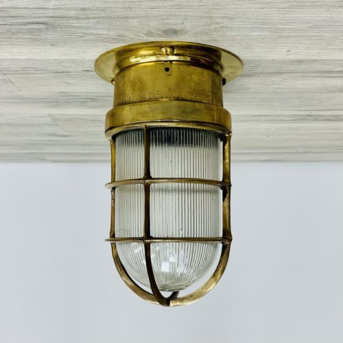 Vintage Nautical Brass Ceiling Light With Ribbed Globe