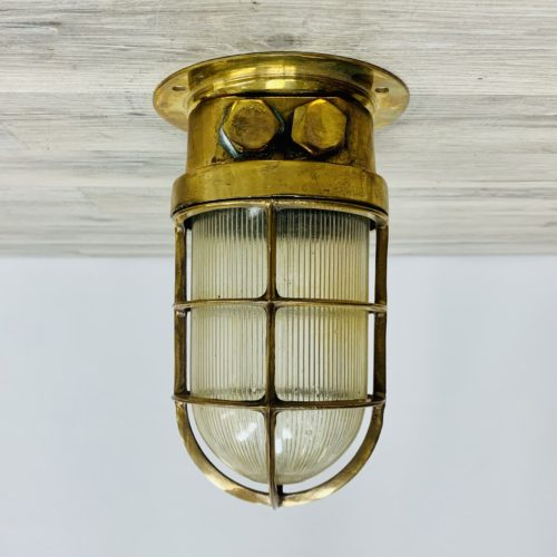 Vintage Nautical Brass Ceiling Light With Ribbed Globe And Conduits