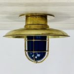 Blue Globe Covered Brass Engine Room Ceiling Light
